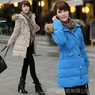 厂家直销新款潮正品那英同款超大毛领修身加厚中长款羽绒服女