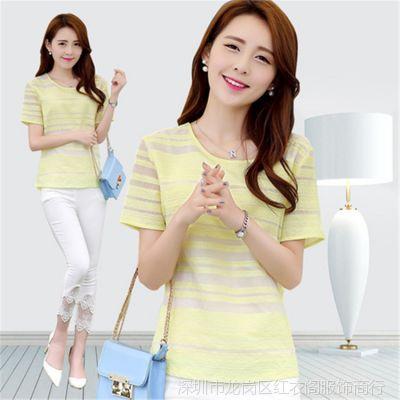 2014韩版打底衫女t恤 女式短袖雪纺衫 欧根纱大码女装雪纺上衣