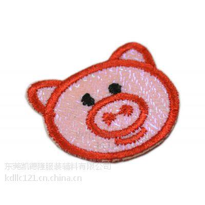 猪头反光料绣花章,各种图形绣花加工,诚心厂家来样定制