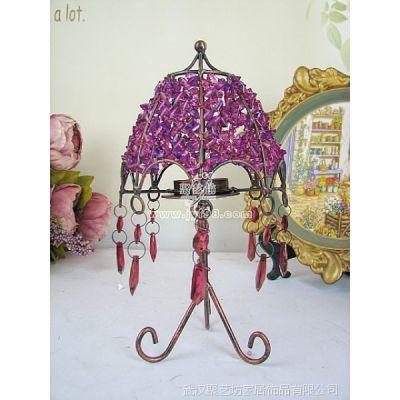 创意烛台/欧式装饰摆件/复古铁艺串珠三足烛台(紫)TZT14Z(紫)