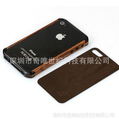 Element 苹果4边框手机壳 iPhone4S手机保护套 金属边框木质外壳