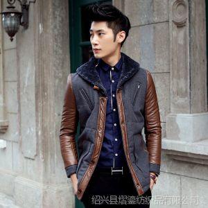 供应2013秋冬新款韩版潮流男式洋气个性修身毛领尼料棉衣外套皮袖大衣