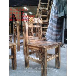 炭烧木炭化木靠背椅餐椅火烧木靠背凳饭店农庄餐椅长条凳