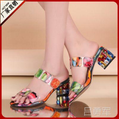 特批 2014夏季欧美彩色真皮时尚拼色女式凉拖 牛筋底女鞋成都女鞋