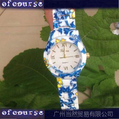 速卖通Ebay货源 日内瓦印花合金手表 geneva流行休闲手表 女款