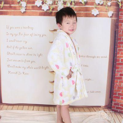 儿童睡衣浴袍 儿童法兰绒睡衣升级水貂绒保暖童套装 厂家批发