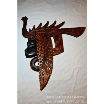 民间工艺品,手工木雕,非洲女系列之吉祥鸟人头fz-1