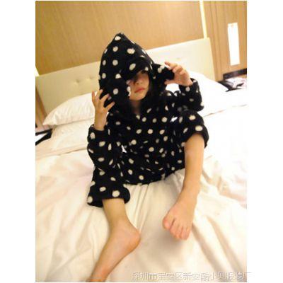 多可爱2014冬季新品定制童装 波点冬装法兰绒睡衣家居服套装