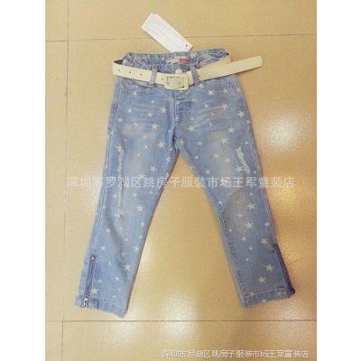 2014 秋季外贸原单女宝宝个性搭配欧洲风格牛仔裤