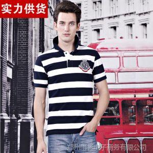 供应夏装新款潮男T恤衫 韩式男t恤条纹刺绣纯棉POLO衫t恤男装短袖男
