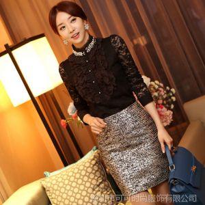 供应COCO 2013秋装新款 韩版蕾丝钉珠立领长袖打底衫