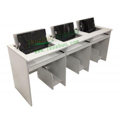 三人组合电脑翻转办公桌 液晶屏显示器翻转桌 多媒体会议办公桌科桌