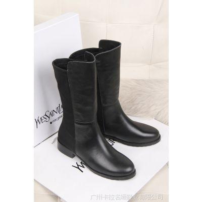 欧洲站 呛口小辣椒中筒靴 头层牛皮短靴平底弹力女靴子时尚瘦腿型