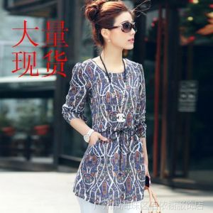 供应2014新款 雪纺印花女装打底衫 韩版中长款长袖修身上衣 连衣裙