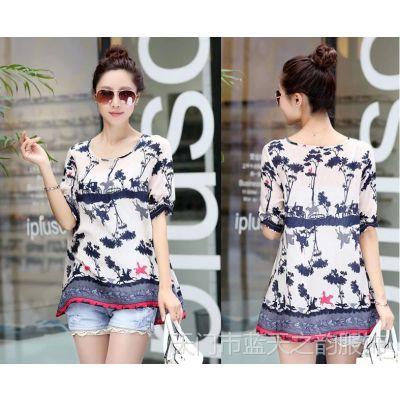 2014夏装新款韩版印花宽松大码女式短袖雪纺衫女T恤雪纺上衣