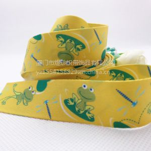 供应青蛙王子和蜻蜓公主的爱恋双面加厚热转织带 涤纶带