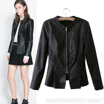 2014春季新款欧美大牌女士黑色仿皮修身西服拉链皮衣外套夹克女潮