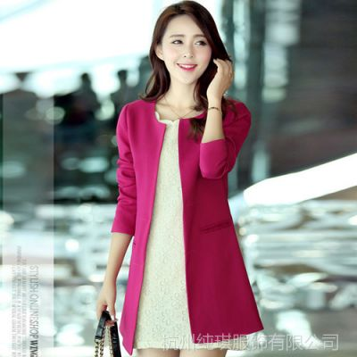 供应2014春季女装 休闲修身中长款外套大码女风衣大衣
