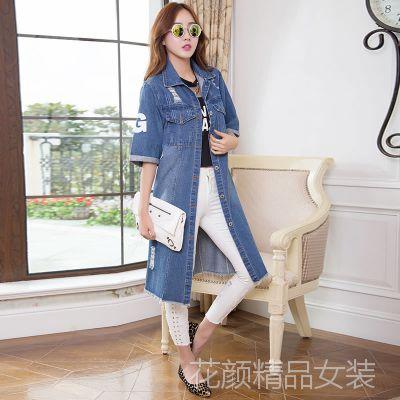 2014韩版中长款宽松短袖牛仔衣外套风衣破洞女新款磨破
