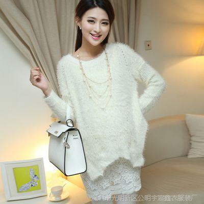 2014秋冬韩版兔毛孕妇上衣孕妇装毛衣 大码女装