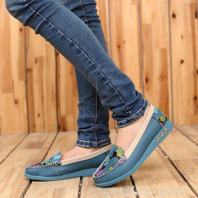 韩国女鞋批发 时尚印花车缝线浅口平底女士单鞋 品牌女士单鞋批发