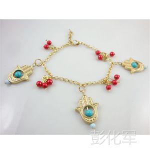 供应原创外贸个性绿松石珠子链条手链镂空翰手中东风格民族手链