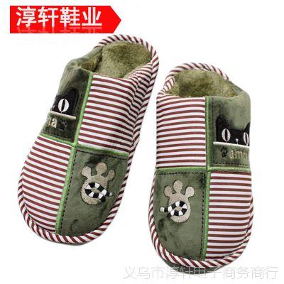 新款上市 精品棉布大底男女式棉拖鞋 绣天猫图案时尚爆款棉鞋批发