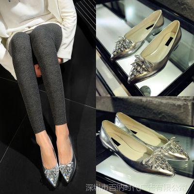 实体专供一件代2015新款时尚平底尖头鞋舒适浅口女单鞋25Q07