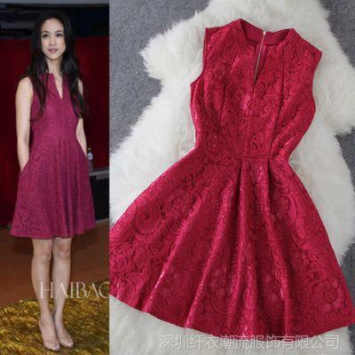 汤唯同款 新款欧美大牌V领红色蕾丝无袖修身连衣裙