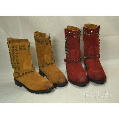 尾货便宜清仓 欧美休闲铆钉中筒靴 低跟女靴 擦色皮靴 帅气机车靴
