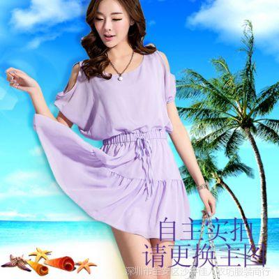 夏新款韩版波西米亚吊带碎花雪纺前短后长连衣裙 沙滩裙