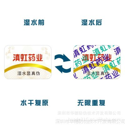 镭射防伪标签、标贴、商标、门票加入纳米湿敏防伪技术 全球首创