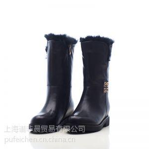 供应上海谱非晨供应加绒保暖女士纯黑雪地皮鞋