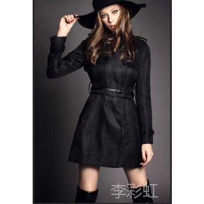 欧美品牌高端女装春夏新款修身女风衣外套 高档纯色女士大牌大衣