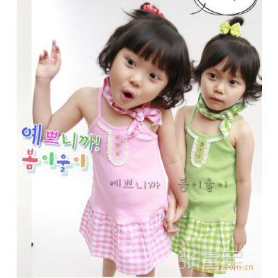 清仓价夏款韩版2色公主裙 儿童吊带裙+围脖两件套/短裙