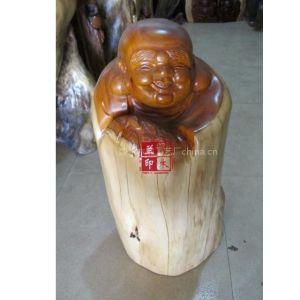 供应红豆杉根雕工艺品 弥勒佛雕像 低价 老料红豆杉雕刻