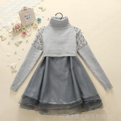 2014清水鱼儿韩版套装欧根纱连衣裙长袖套头针织衫两件套装*Z5835