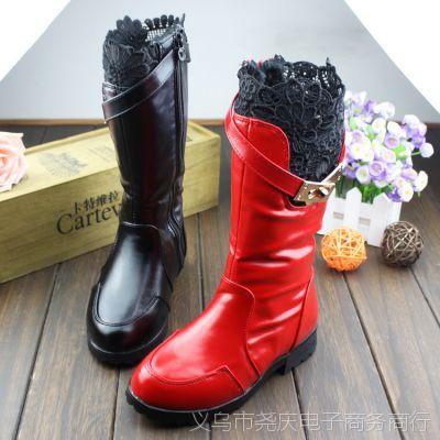 厂家直销女童靴子2104冬韩版儿童高筒长靴皮靴棉靴童鞋雪地靴批发