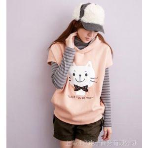 供应2013秋冬大码女装韩版孕妇装 可爱猫孕妇打底衫两件套7805yyf