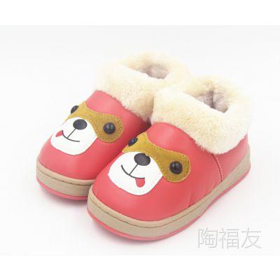 冬季新款儿童小狗棉鞋 卡通狗家居鞋糖果色彩中童棉鞋时尚毛口鞋