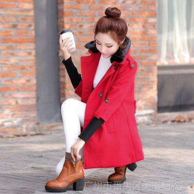 模特实拍5227#2014秋装新款 毛领女装红色呢大衣中长款毛呢外套