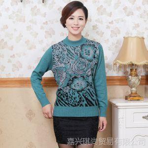 供应2013秋冬中老年女装新款 妈妈装长袖圆领针织衫 套头女式上装