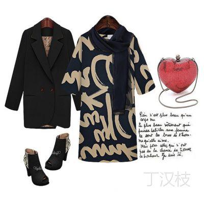 2366#zara正品欧美女装新款中袖修身字母印花打底连衣裙
