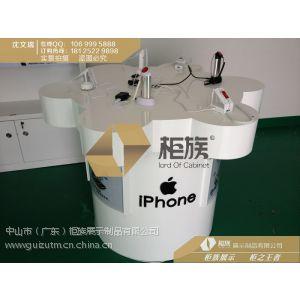 供应长沙苹果梅花桩开放式圆形手机体验柜;新款软膜灯箱报价