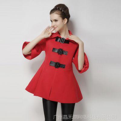 2014新款欧美大牌复古女装 中长款蝙蝠袖红色斗篷毛呢外套女223