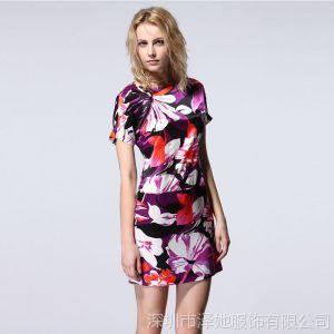 供应2013春新款REPUBLIC BANANA复古修身短袖真丝连衣裙 批发L 0386