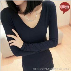 供应2013秋装韩版修身显瘦打底衫V领修身中长款 低领紧身女式T恤上衣