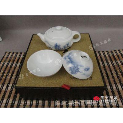 厂家直销德化手绘青花茶具 陶瓷茶具 旅行茶具套装 手工茶具