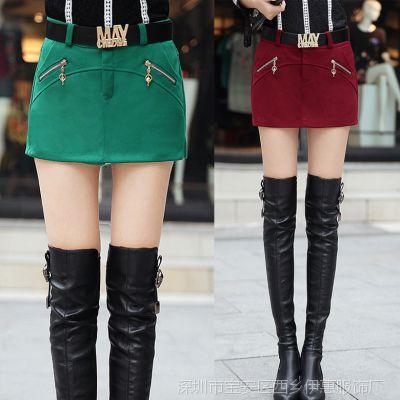 2014秋冬新款韩版大码毛呢短裤女装加厚呢子显瘦打底冬季靴裤
