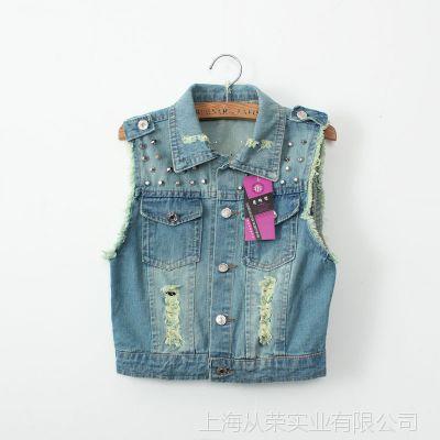 2014韩版新款牛仔修身显瘦牛仔马甲女流苏毛边铆钉破洞女款马夹
